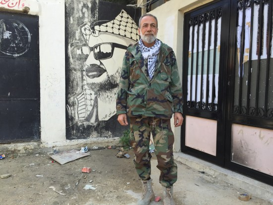 Munir Makdah in front of his HQ in Ain Hilweh